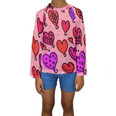 Valentine Wallpaper Whimsical Cartoon Pink Love Heart Wallpaper Design Kids  Long Sleeve Swimwear