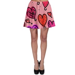 Valentine Wallpaper Whimsical Cartoon Pink Love Heart Wallpaper Design Skater Skirt