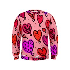 Valentine Wallpaper Whimsical Cartoon Pink Love Heart Wallpaper Design Kids  Sweatshirt