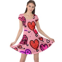 Valentine Wallpaper Whimsical Cartoon Pink Love Heart Wallpaper Design Cap Sleeve Dresses