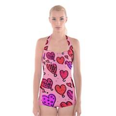 Valentine Wallpaper Whimsical Cartoon Pink Love Heart Wallpaper Design Boyleg Halter Swimsuit