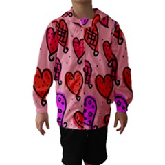 Valentine Wallpaper Whimsical Cartoon Pink Love Heart Wallpaper Design Hooded Wind Breaker (Kids)