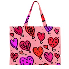 Valentine Wallpaper Whimsical Cartoon Pink Love Heart Wallpaper Design Large Tote Bag