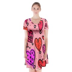 Valentine Wallpaper Whimsical Cartoon Pink Love Heart Wallpaper Design Short Sleeve V-neck Flare Dress