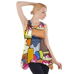 Sweet Stuff Digitally Food Side Drop Tank Tunic