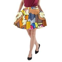 Sweet Stuff Digitally Food A-Line Pocket Skirt