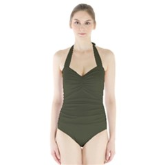 Garden Boot Green in an English Country Garden Halter Swimsuit