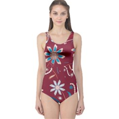 Floral Seamless Pattern Vector One Piece Swimsuit