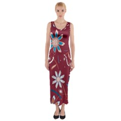 Floral Seamless Pattern Vector Fitted Maxi Dress