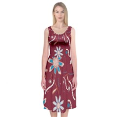 Floral Seamless Pattern Vector Midi Sleeveless Dress