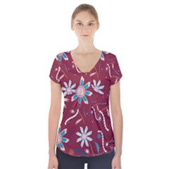 Floral Seamless Pattern Vector Short Sleeve Front Detail Top
