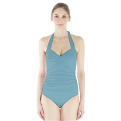 Hydrangea Blue in an English Country Garden Halter Swimsuit