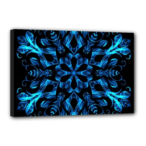 Blue Snowflake Canvas 18  X 12