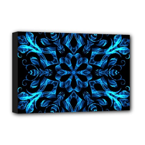 Blue Snowflake Deluxe Canvas 18  x 12