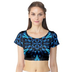 Blue Snowflake Short Sleeve Crop Top (Tight Fit)