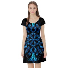 Blue Snowflake Short Sleeve Skater Dress