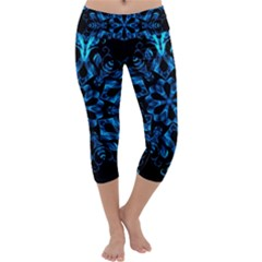 Blue Snowflake Capri Yoga Leggings