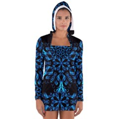 Blue Snowflake Women s Long Sleeve Hooded T-shirt