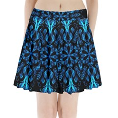 Blue Snowflake Pleated Mini Skirt