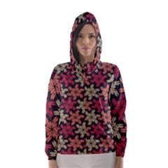 Floral Seamless Pattern Vector Hooded Wind Breaker (Women)