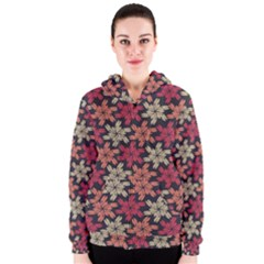 Floral Seamless Pattern Vector Women s Zipper Hoodie