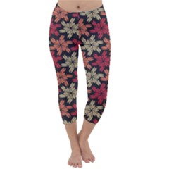 Floral Seamless Pattern Vector Capri Winter Leggings