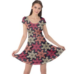 Floral Seamless Pattern Vector Cap Sleeve Dresses