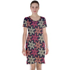 Floral Seamless Pattern Vector Short Sleeve Nightdress