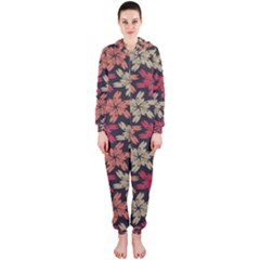 Floral Seamless Pattern Vector Hooded Jumpsuit (Ladies)