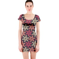 Floral Seamless Pattern Vector Short Sleeve Bodycon Dress