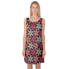 Floral Seamless Pattern Vector Sleeveless Satin Nightdress
