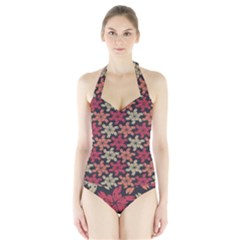 Floral Seamless Pattern Vector Halter Swimsuit