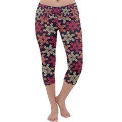 Floral Seamless Pattern Vector Capri Yoga Leggings