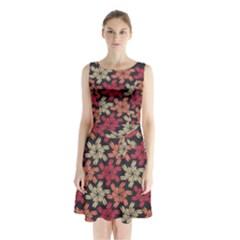 Floral Seamless Pattern Vector Sleeveless Chiffon Waist Tie Dress