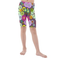 Floral Seamless Pattern Vector Kids  Mid Length Swim Shorts