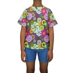 Floral Seamless Pattern Vector Kids  Short Sleeve Swimwear