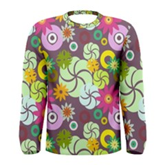 Floral Seamless Pattern Vector Men s Long Sleeve Tee