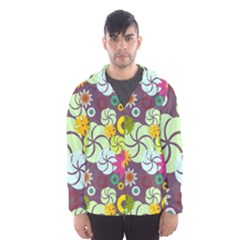 Floral Seamless Pattern Vector Hooded Wind Breaker (Men)
