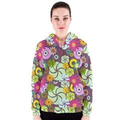 Floral Seamless Pattern Vector Women s Zipper Hoodie