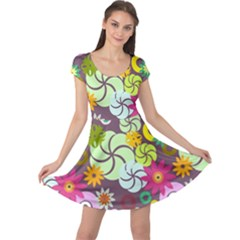 Floral Seamless Pattern Vector Cap Sleeve Dresses