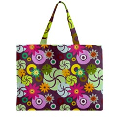 Floral Seamless Pattern Vector Zipper Mini Tote Bag