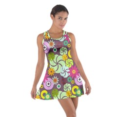 Floral Seamless Pattern Vector Cotton Racerback Dress