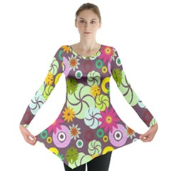 Floral Seamless Pattern Vector Long Sleeve Tunic