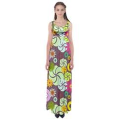 Floral Seamless Pattern Vector Empire Waist Maxi Dress