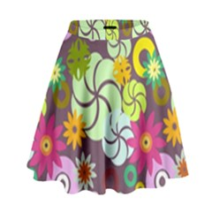 Floral Seamless Pattern Vector High Waist Skirt