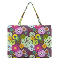 Floral Seamless Pattern Vector Medium Zipper Tote Bag