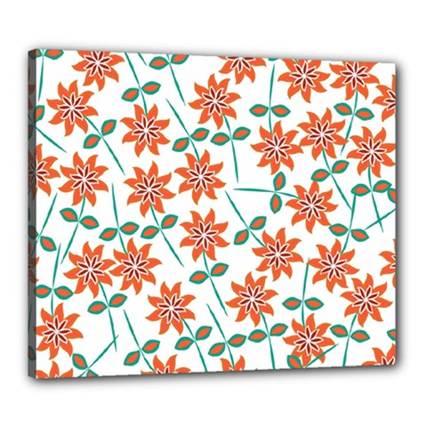 Floral Seamless Pattern Vector Canvas 24  X 20
