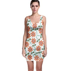 Floral Seamless Pattern Vector Sleeveless Bodycon Dress