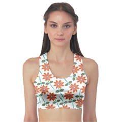 Floral Seamless Pattern Vector Sports Bra