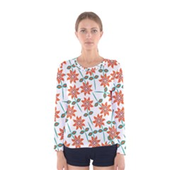 Floral Seamless Pattern Vector Women s Long Sleeve Tee